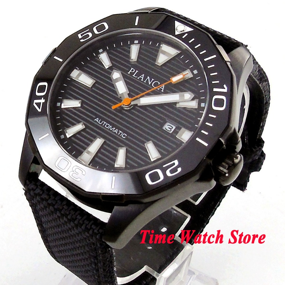 PLANCA 45mm PVD men's watch black dial luminous ceramic bezel sapphire glass 5ATM MIYOTA Automatic movement wrist watch PL12 цена