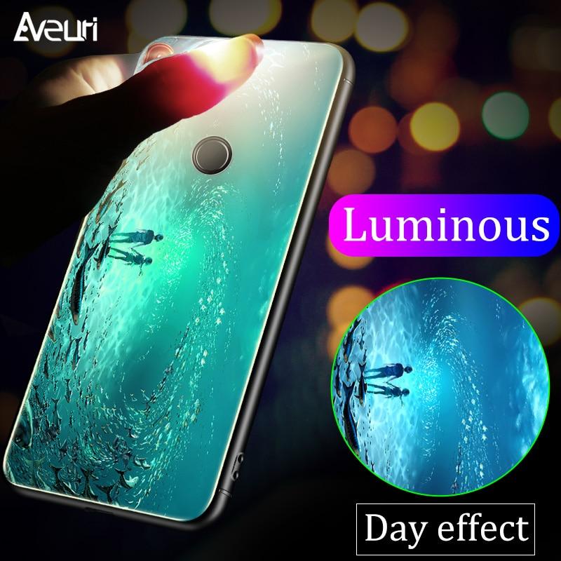 Luminous Case For Xiaomi Mi 8 Lite A1 A2 Lite 6 Glass Back Cover Case For Xiaomi Redmi 5 5 Plus 6A 6 Pro Note 4 4X 5 5 Pro Coque