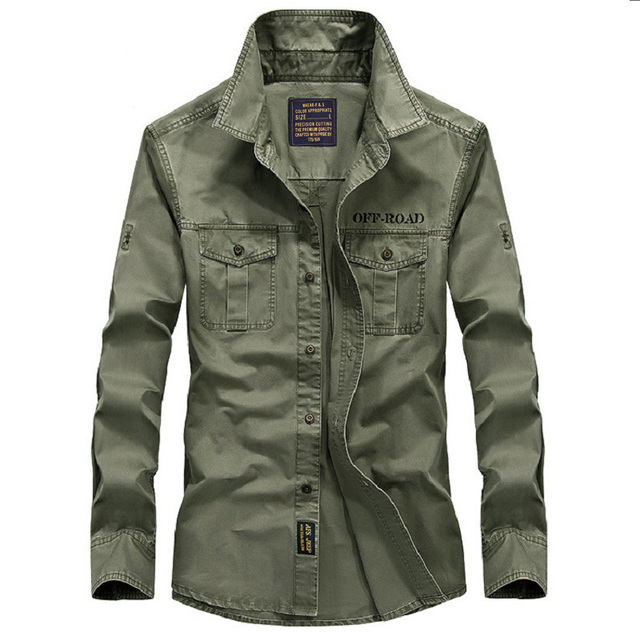 3d983b92146 New 2018 Autumn AFS JEEP Casual Military Shirts Long Sleeve Brand Clothing  Army Dress Shirt Plus