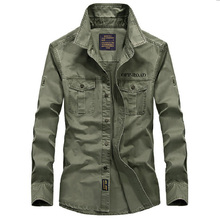 New Casual Mens Military Shirts Long Sleeve Brand Clothing AFS JEEP Slim Army Dress Shirt Men S-4XL Plus Size Camisa Masculina