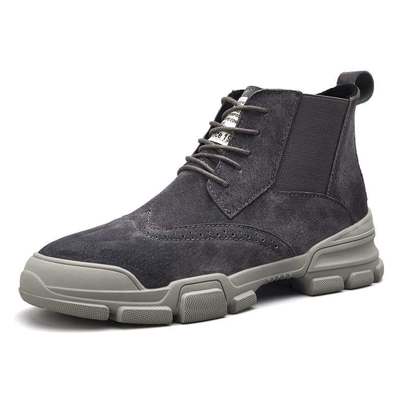 Bota khaki Negro Llegadas gris Mano Nuevas Primavera otoño Botas De Hombre Zapatos Mycoron Hombres Couro Cuero Hechos Masculina 2018 A UTq6Snwf