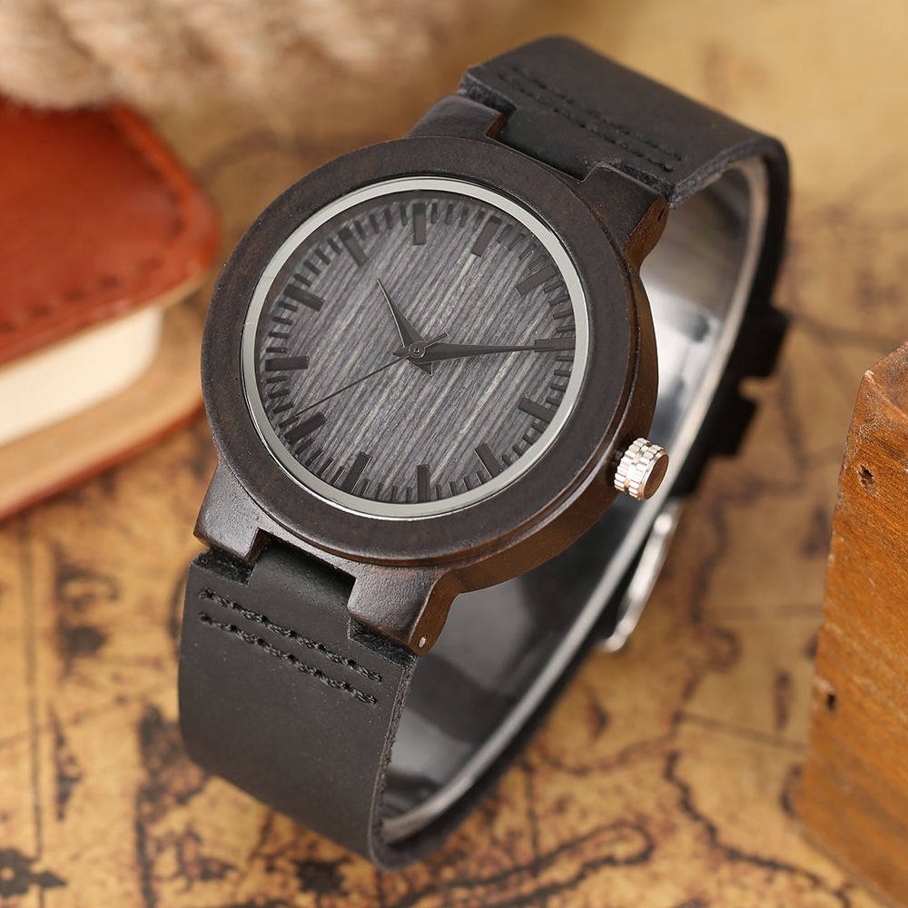 Elegant Small Dial Women's Bracelet Watches Black Wooden Case Genuine Leather Band Ladies Wrist Watch 2018 New Female Clock Gift