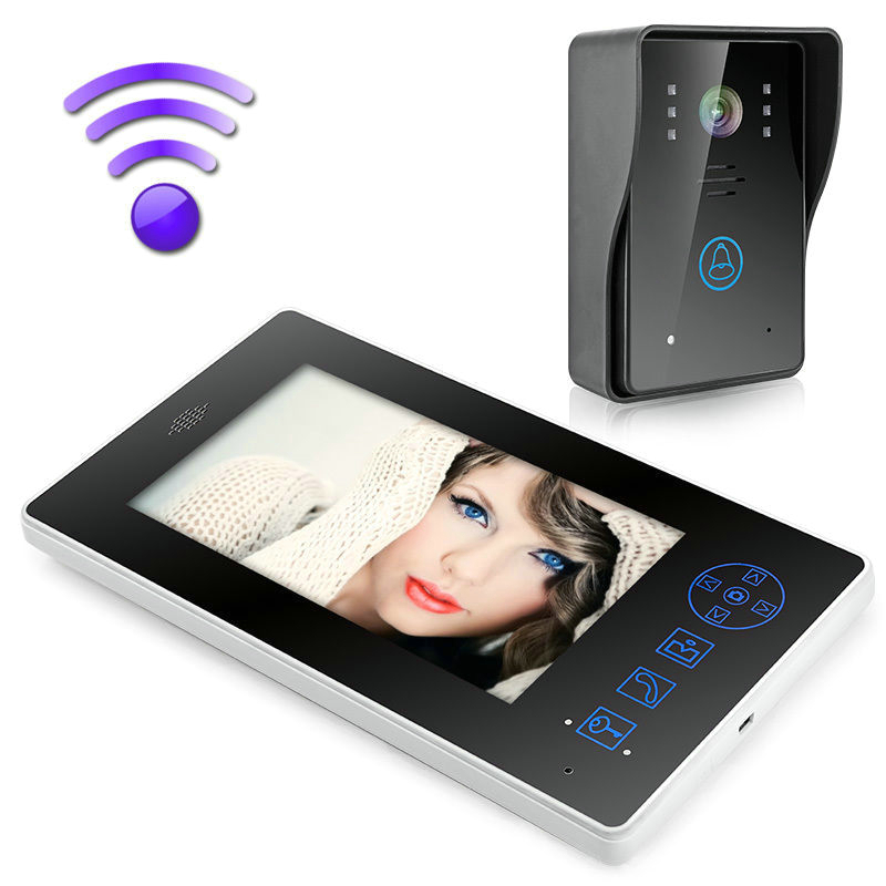 "Free Shipping! 2.4G 7"" TFT Wireless Video Door Phone Intercom Doorbell Home Security Camera Monitor"