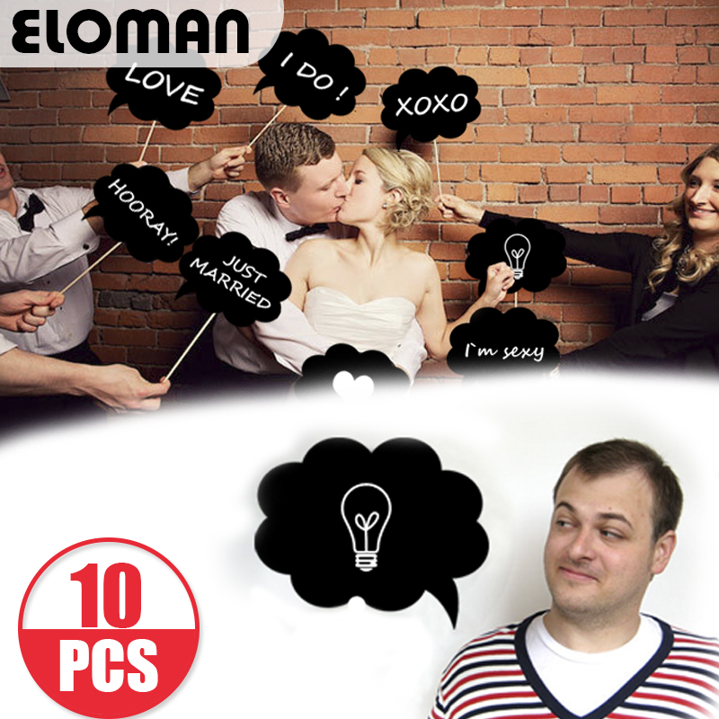 ELOMAN Party Photo Booth With Chalk Blackboard You Can Write Any Words On It, Wedding Perfect Decorations
