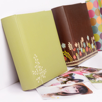 Beautiful 6 inch insert photo album 200 sheets lovers baby family which can write message photo album PU cover