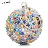 YYW Hot Selling Women Shoulder Crossbody Bag Luxury Evening Bag Tiny glass beads Mini Party Bags Bolsas Round bags High Quality