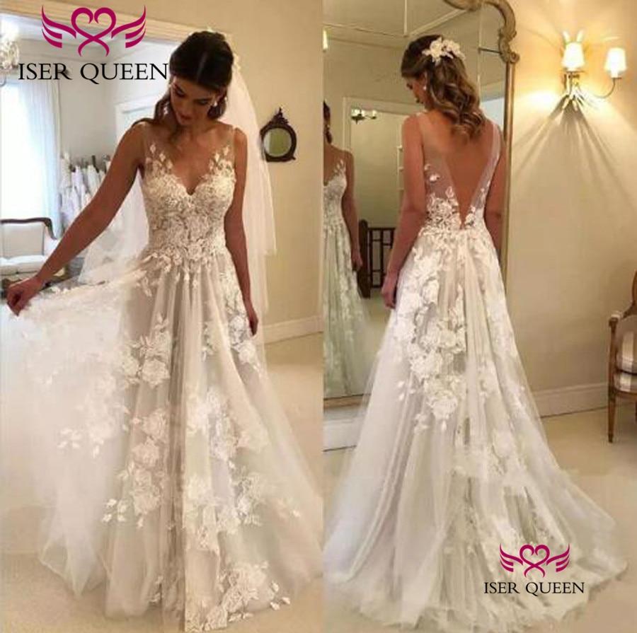 Illusion V-neck Delicate Appliques A Line Beach Wedding Dresses Pure White Sweep Train Sexy Backless Bride Dresses  W0449