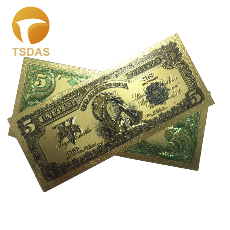 10pcs/Lot Colored The United States Banknote 1899 USD <font><b>5</b></font> <font><b>Dollars</b></font> Gold Foil Banknote Souvenir <font><b>Bills</b></font> with Free Shipping image
