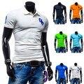 2015 Clásico Bordado Básico de Algodón Casual Solid Para Hombre Camisas de Polo de manga Corta Marca Slim fit Camisa Polo Masculina Transpirable