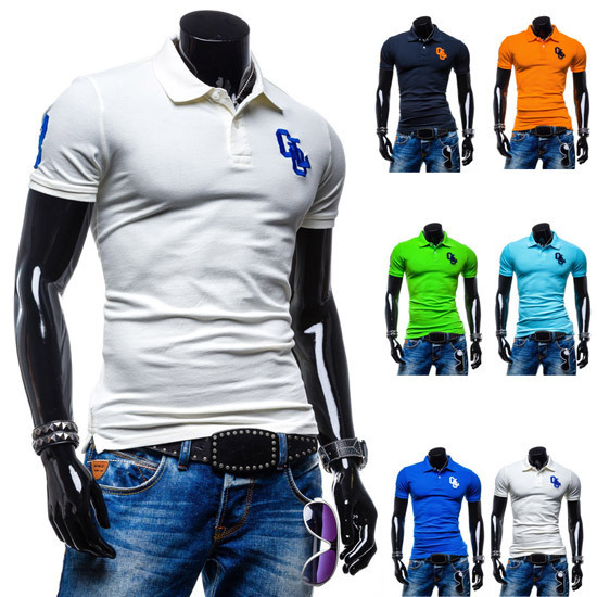 2015 Classic Basic Embroidery Cotton Casual Solid Mens Polo Shirts Short sleeve Brand Slim fit Breathable Camisa Polo Masculina