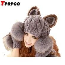 TPRPCO искусственный мех мяч шерстяная шапка кепки супер милые зимние теплые корейские для женщин Дьявол Рога кошачьими ушками вязаная шапочка NL8251