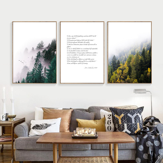 Superb Us 4 47 36 Off Yellow Painting Forest Leaf Black Letter Nordic Canvas Paintings Green Tree Living Room Decoration Posters And Prints Unframed In Home Interior And Landscaping Spoatsignezvosmurscom