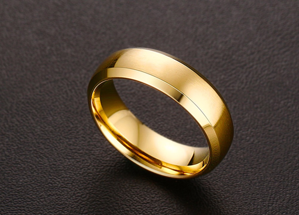 Mens Rings 6MM Wedding Band Stainless Steel Ring Men Jewelry Engagement Ring Comfort Fit Beveled Edges Black Blue Gold-color Decoration Accessories anillos masculino 13