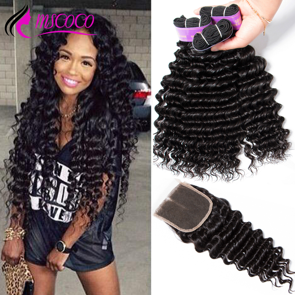 Brazilian Deep Wave Bundles With Closure Human Hair 3 Bundles With Closure Deep Curly Brazilian Hair Weave Bundles Mscoco Hair(China)