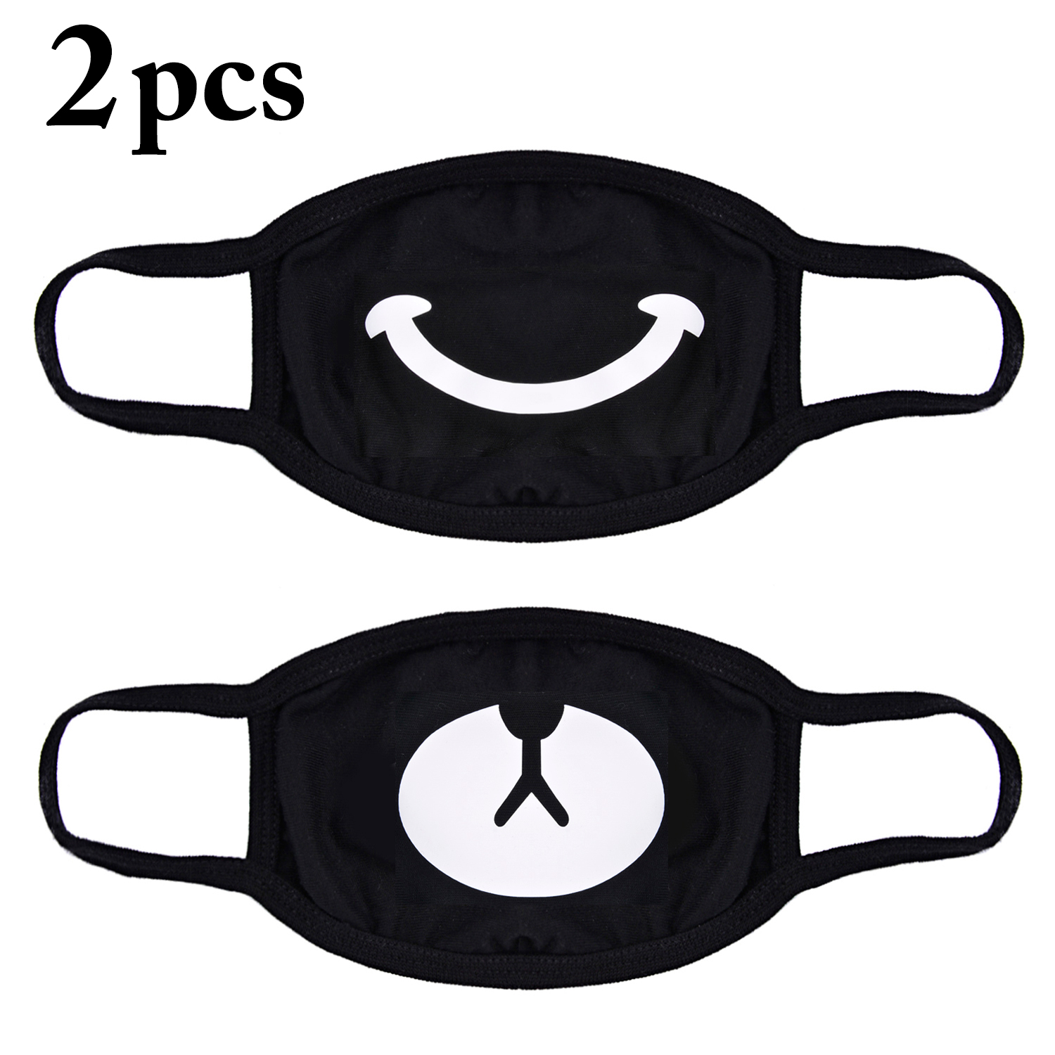 2 Pack Cartoon Half Face Cover Unisex Cotton Mask Anti-Dust Protective Earloop Mouth Mask With Smile Bear Pattern