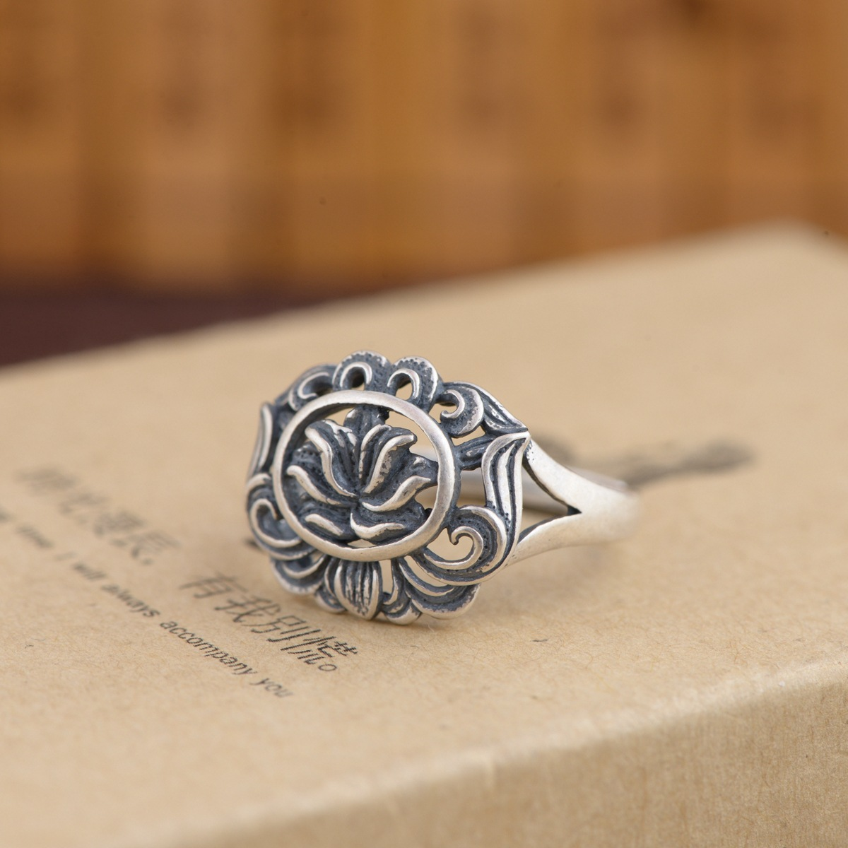 silver ring S925 sterling silver antique style female flowers rich matte New Gift Ring