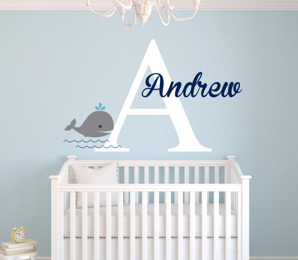 From the window to the wall whale - Personalized Name Wall Decal Whale Wall Stickers For Kids Room Girls Name Wall Decal Customize