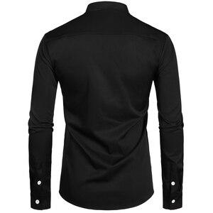Image 2 - 2019 novo botão para baixo trabalho de escritório de negócios masculino preto 2xl gola em banda masculina ajuste fino manga longa camisas vestido