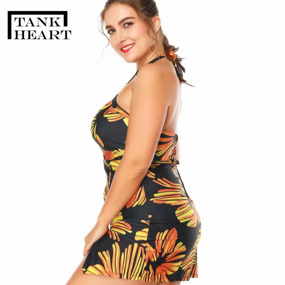41783c1ab248d ... Tank Heart New Large Size Swimwear Female Black Swimsuit Floral Skirt  Bathing Suit Shorts Tankini Set ...