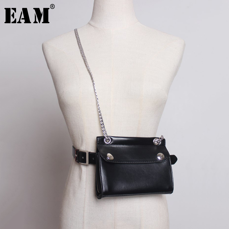 [EAM] 2020 New Spring Autumn Pu Leather Personality Black Chain Mini-bag Stitch Long Belt Women Fashion Tide All-match JY330