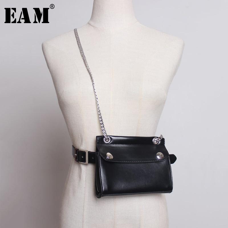 [EAM] 2020 New Spring Autumn Pu Leather Personality Black Chain Mini-bag Stitch Long Belt Women Fashion Tide All-match JY330