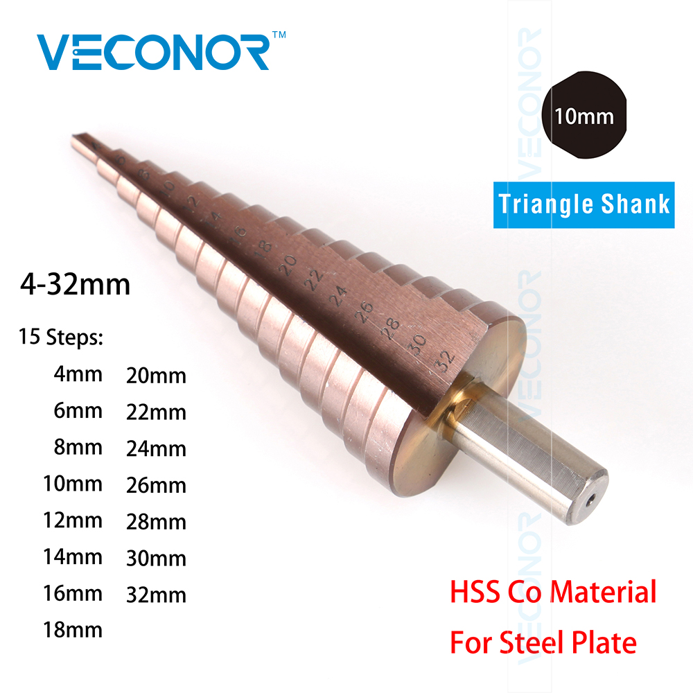 Veconor 4-32mm impact step drill bit HSS Cobalt multiple hole cutter tool set 10mm triangle shank jelbo cone step drill hole tools countersink 3pc drill bit set power tools step drill bit for metal power tools set hole cutter