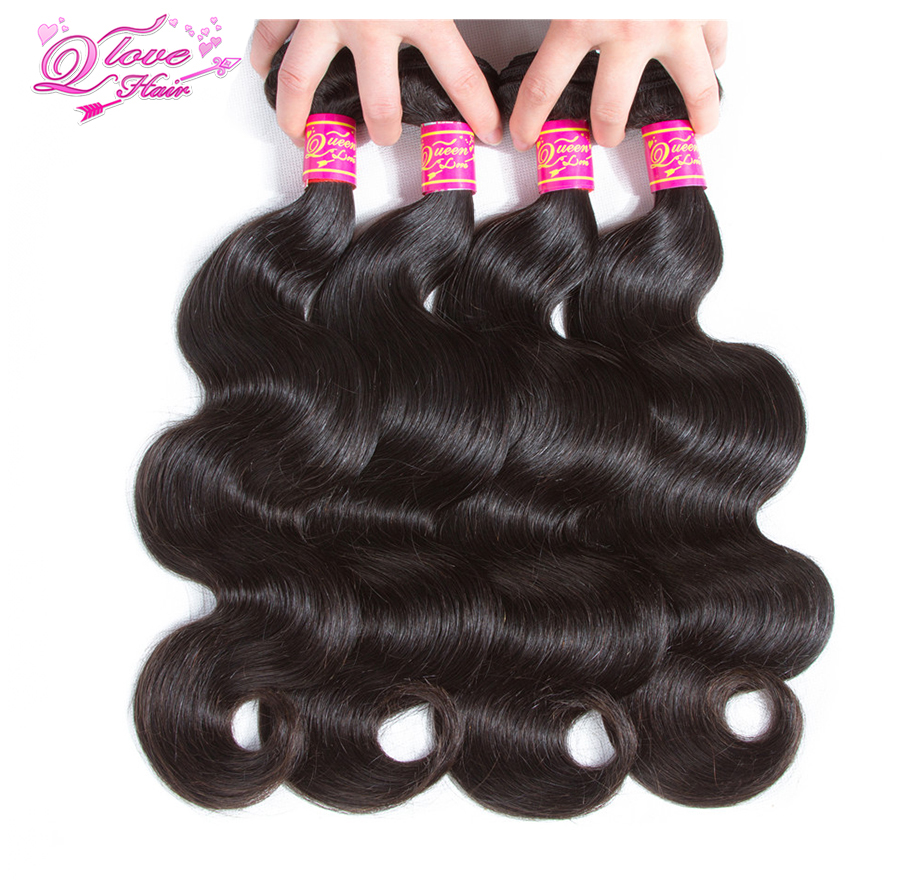 Queen Love Hair Pre-colored Mongolian Body Wave 3/4 Bundles Free Shipping Remy Hair Natural Color Human Hair Weave Extensions