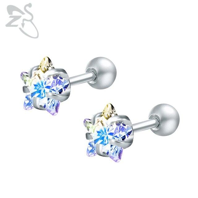 Shining Star Crystal Earrings Stud Piiercing Stainless Steel Ear Studs Cubic Zircon Earring Women Jewelry