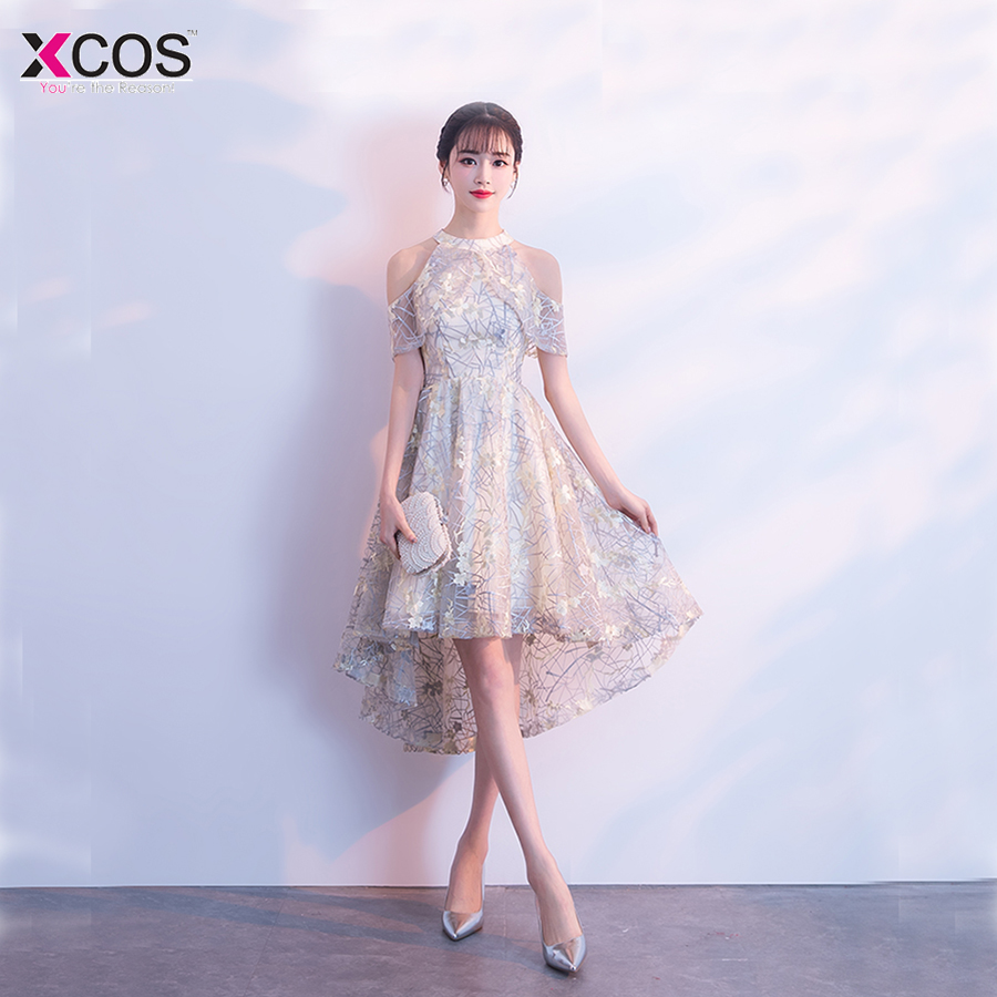ed44bc9ef Girls Appliques Halter Knee Length High Low Homecoming Dress Tulle vestidos  cortos 2018 Short party dresses for graduation