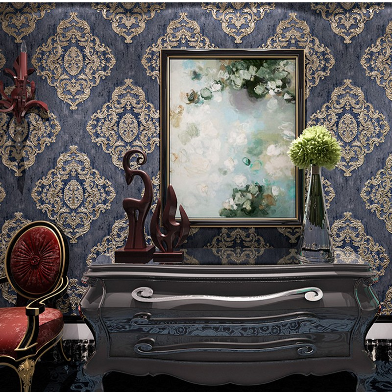 ФОТО beibehang 3D deep embossed wallpaper engraved wallpaper European noble Damascus bedroom living room background papel de parede