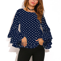 Xinyuwei Autumn 2017 Flare Long Sleeve Vintage Polka Dot Shirt Chiffon Ruffle Blouse Fashion Women Shirts
