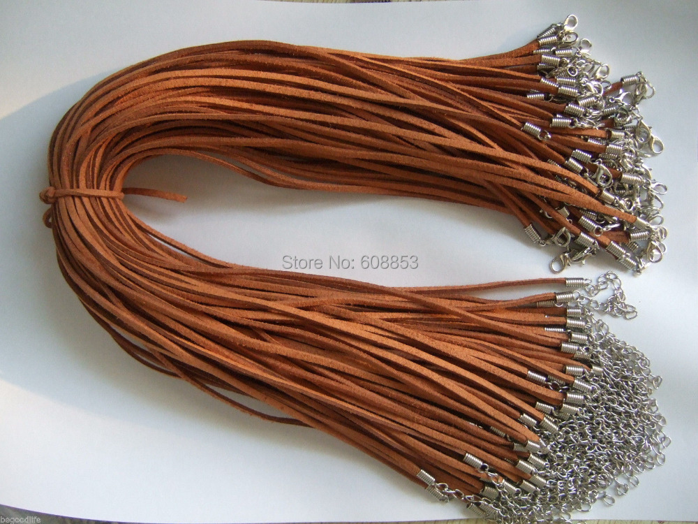 20/50pcs Brown Faux Suede Flat Leather Necklace Cord 17
