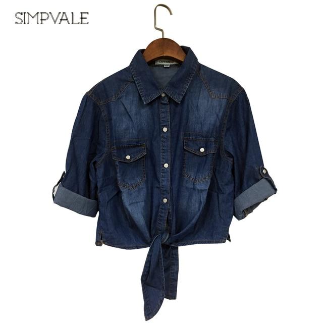 2017 SIMPVALE Spring Korean Style Shirts Short Shawl Jacket Women Denim Bow Jeans Small Cape Shirts coat
