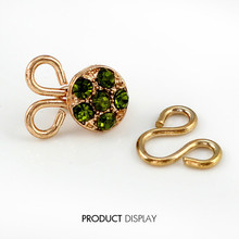 5 satz Gold Grün Kristall Strass Metall Haken Augen Verschluss Taille Extender Taste Nähen Auf Garment Nähen Verschlüsse