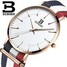 Switzerland BINGER men watches luxury brand ultrathin limited edition Waterproof lovers s quartz Wristwatches B 3050M