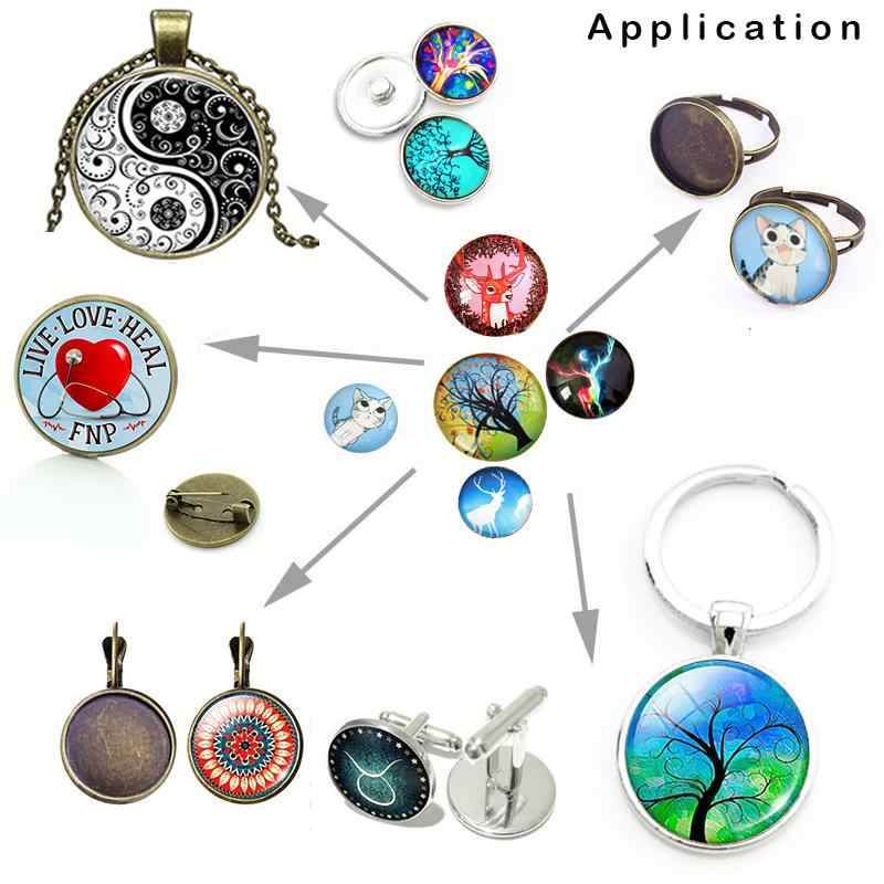 mixed tree of life Dreamcatcher 12mm/18mm/20mm/25mm snap button Round photo glass cabochon demo flat back Making findings BP2016