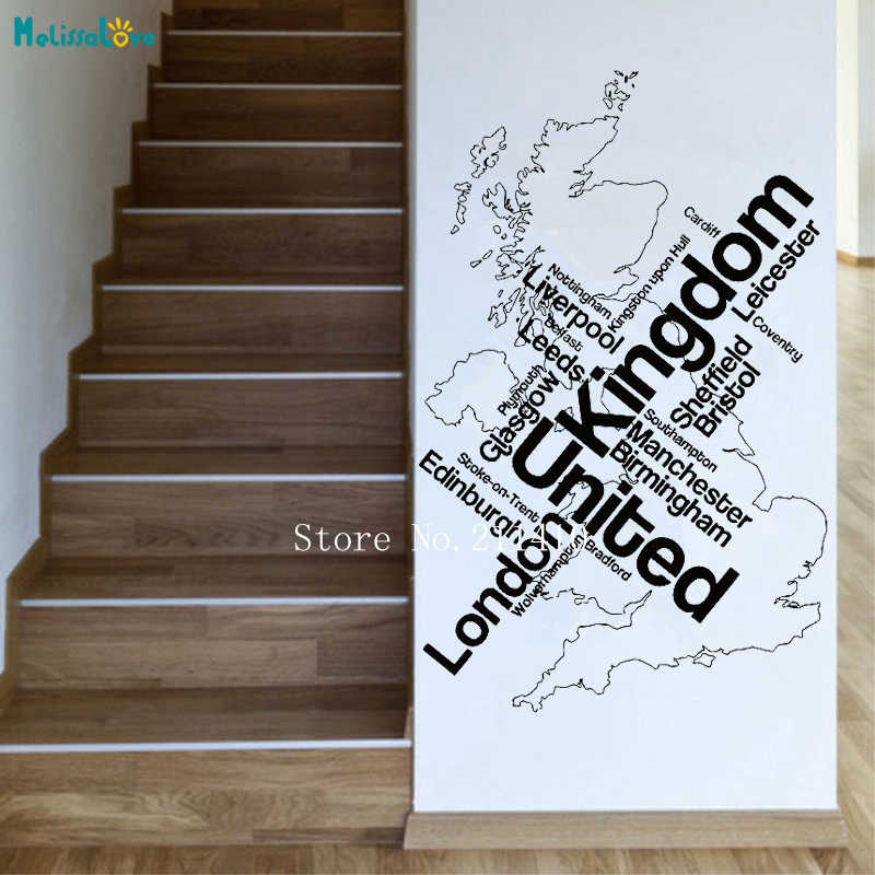 Wall Sticker Map London Unied Kingdom England English Cities Decals Home Decor for Living Room Office Self-adhesive Murals YT733