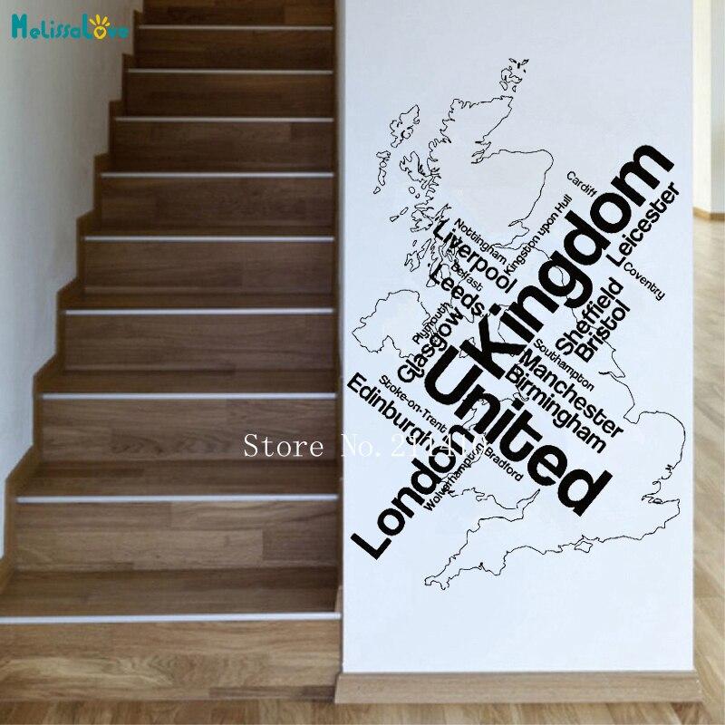 Adesivo de parede Mapa Londres Unied Unido England Cidades Inglesas Decalques Home Decor para Sala de estar Escritório Auto-adesivo Murais YT733