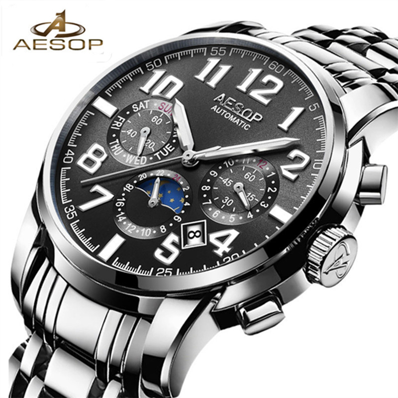 2018 AESOP Men Automatic Mechanical Wristwatch Stainless Steel Shockproof Waterproof Watch Male Clock Relogio Masculino Hodinky aesop stainless steel watch men waterproof shockproof quartz wrist wristwatch male clock relogio masculino hodinky brand box 27