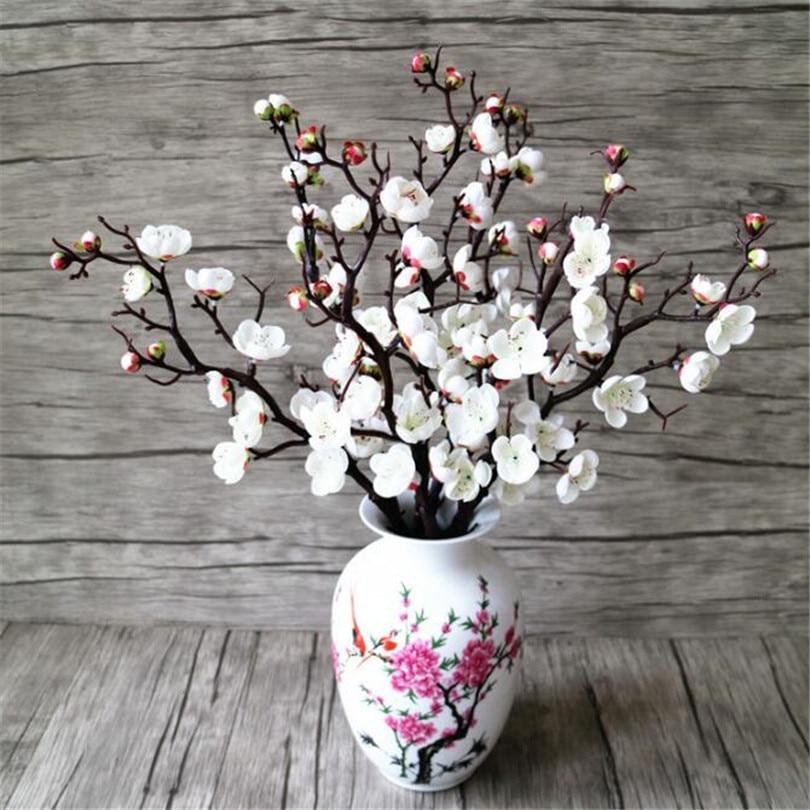24p Artificial Flowers Plum Blossom Stem Fake Winter Plum Tree