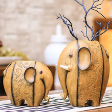 New Animal Resin elephant miniature fairy garden decor creative  vase statue tabletop Furnishing articles home decoration