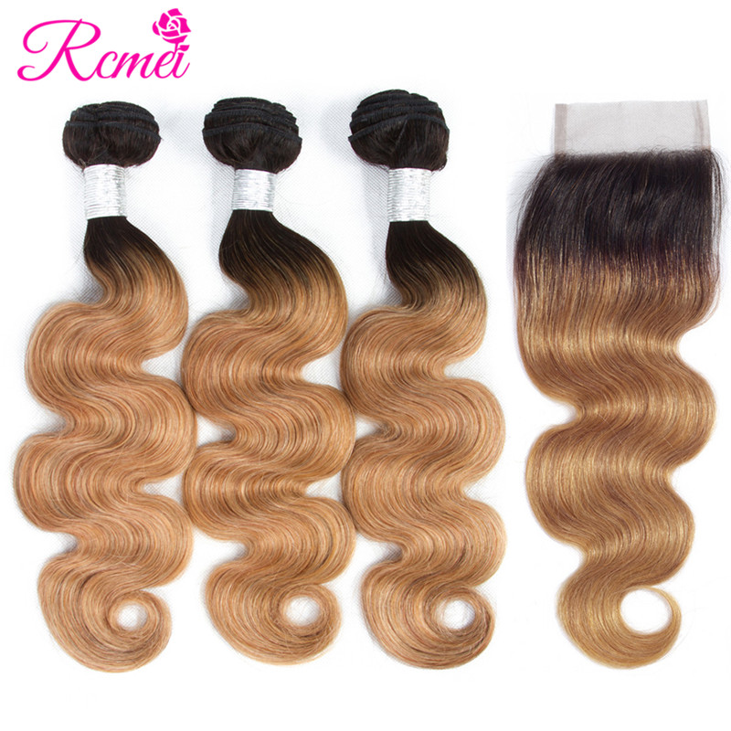 Pre-Colored Ombre T1B/27 Bundles With Closure Brazilian Body Wave 4 Bundle Deal Blonde Color Hair Weaving Non Remy Hair Rcmei ...