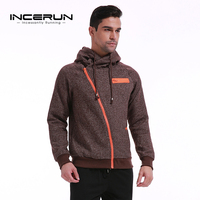 INCERUN Autumn Men Hoodies Fashion Sweatshirt Tracksuit Male Zipper Hooded Jacket Sportswear Casual Hoodies Pullover 2018 Winter