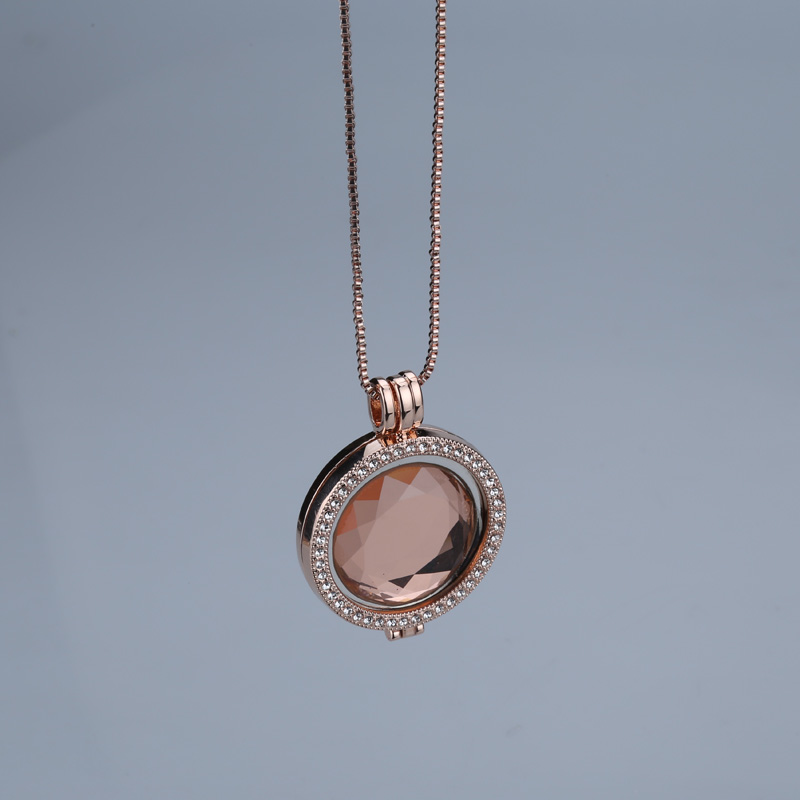 Hot sale pink glass crystal interchangeable trendy brand necklaces pendants 35mm coin holder rose gold for women set jewelry