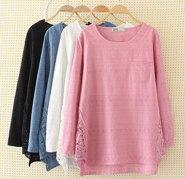 903f58e3e8 Blusas Women full cotton black plus size T-shirts floral embroidery long  sleeve hollow out white 3XL 6XL loose tees tops shirts