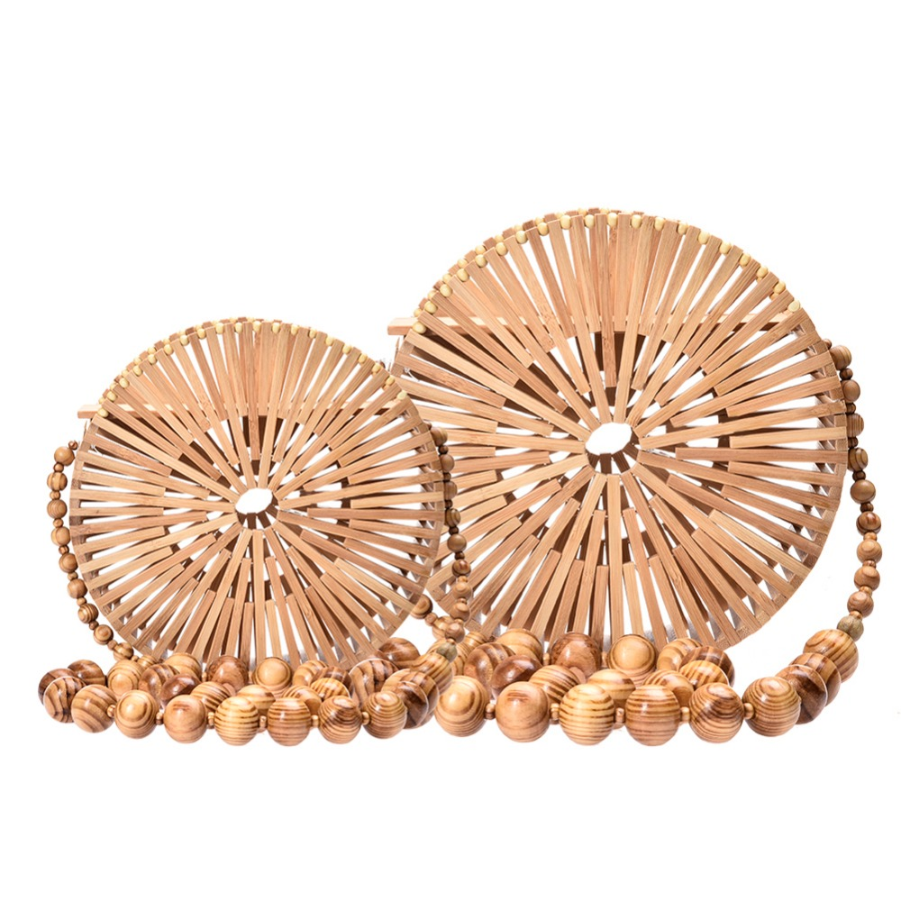 2018 Summer Round Bamboo Handmade Beach Vacation Circular Travel Basket Box Tote Women Shopping Casual Handbag Fashion Designer
