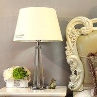 Modern Crystal Bedroom Table Lamp Fabric Lampshade Living Room Decoration Abajur Table lamp For Bedroom Lamparas De Mesa