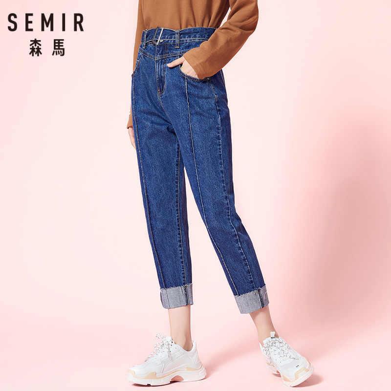 SEMIR Frauen 100% Baumwolle Freund Cropped Jeans mit Schnalle Gürtel Regular Fit Ankle Jeans in Gewaschen Denim mit Roll-oben Rand