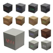 Cube LED digital Wecker Platz Holz lade Uhr Thermometer Temp Datum uhr Display reloj despertador wecker 008