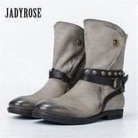 Jady Роза Повседневное Серый женские ботильоны ремни из натуральной кожи без каблука Botas осень зима женские ботинки martin на платформе
